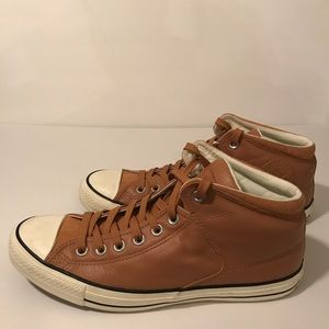 Converse Tan Leather High Tops
